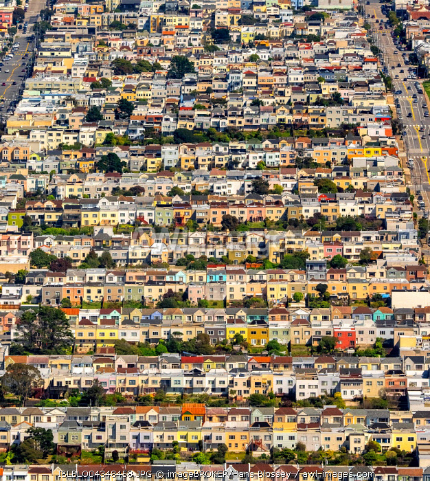 Aerial view, small detached, single-family houses at Doelger City, Outer Sunset, suburban district in the west of San Francisco, San Francisco, San Francisco Bay Area, California, USA, North America