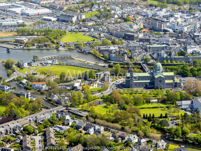 aerial view, Galway, city and cathedral, County Clare, Ireland, Europe