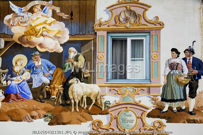 Lüftlmalerei fresco painting adorning the facade of a house, detail, Garmisch-Partenkirchen, Upper Bavaria, Bavaria, Germany, Europe