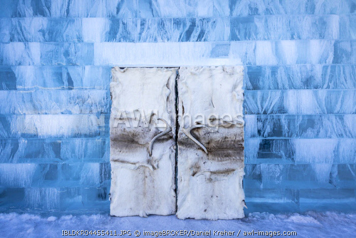 Doors made of hides and antlers, Icehotel, Jukkasjärvi, Lapland, Norrbotten County, Sweden, Europe