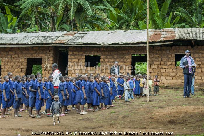 Schoolchildren in uniforms, schoolyard, Foumbam, West Region, Cameroon, Africa