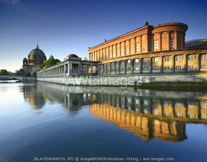 Alte Nationalgalerie and arcades reflecting in the river Spree, behind Berlin Cathedral, Museum Island, Berlin-Mitte, Berlin, Germany, Europe