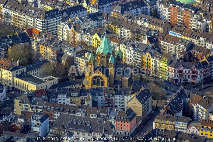 Kreuzkirche church with old town, Dusseldorf, Rhineland, North Rhine-Westphalia, Germany, Europe