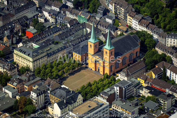 Aerial view, Basilica of St. Lawrence in Elberfeld, Wuppertal, Bergisches Land, North Rhine-Westphalia, Germany, Europe