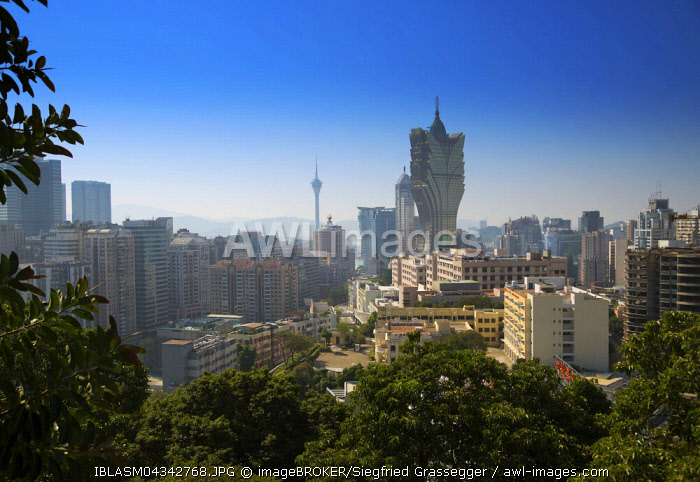 Casino Grand Lisboa and Macau Tower in the background, Macau, China, Asia