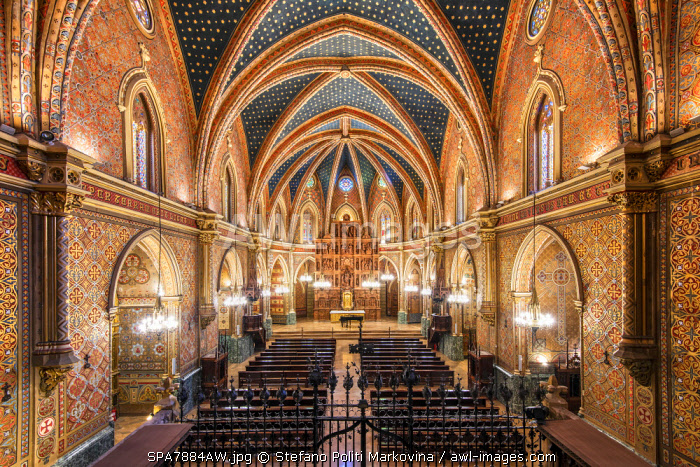 Iglesia de San Pedro church with its ornate ceiling covered in gold stars, Teruel, Aragon, Spain