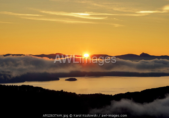 Sunrise over Nahuel Huapi Lake seen from Cerro Campanario, Nahuel Huapi National Park, Rio Negro Province, Argentina