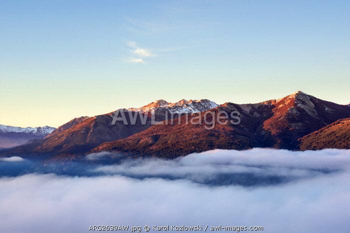 Mountains at sunrise, seen from Cerro Campanario, Nahuel Huapi National Park, Rio Negro Province, Argentina