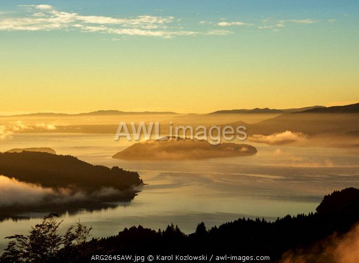 Nahuel Huapi Lake and Huemul Island at sunrise, seen from Cerro Campanario, Nahuel Huapi National Park, Rio Negro Province, Argentina