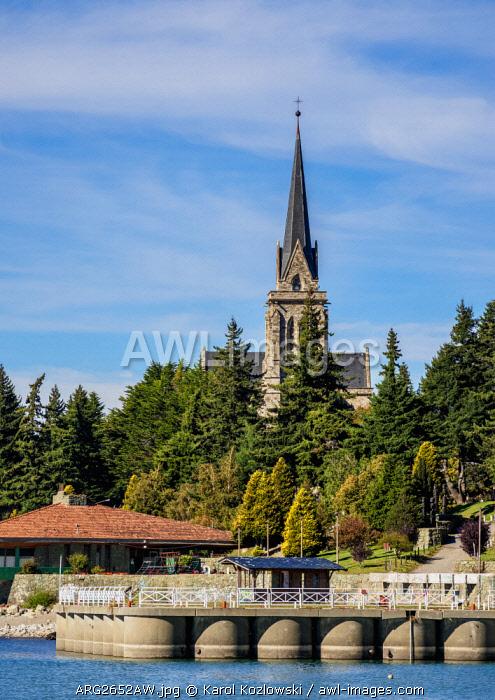 San Carlos Port and Cathedral, San Carlos de Bariloche, Nahuel Huapi National Park, Rio Negro Province, Argentina