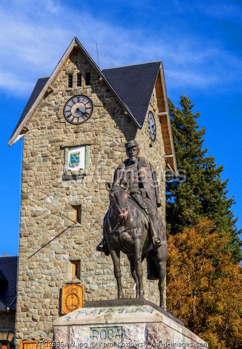 Statue of General Roca at the Civic Center, San Carlos de Bariloche, Nahuel Huapi National Park, Rio Negro Province, Argentina