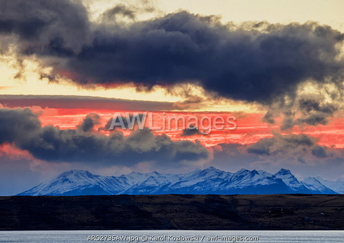 Sunset over Lake Argentino, El Calafate, Santa Cruz Province, Patagonia, Argentina