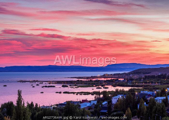 Sunrise over Lake Argentino and El Calafate, Santa Cruz Province, Patagonia, Argentina
