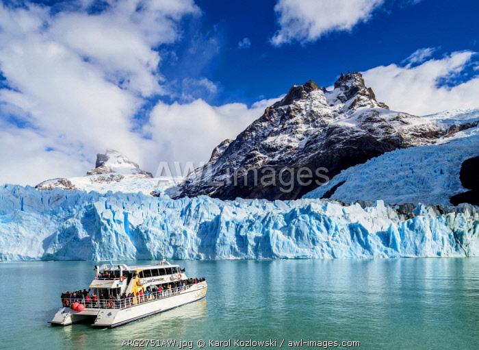 Cruise Ship in front of the Spegazzini Glacier, Los Glaciares National Park, Santa Cruz Province, Patagonia, Argentina