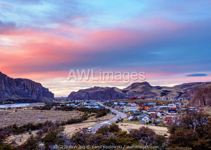 El Chalten at dawn, elevated view, Los Glaciares National Park, Santa Cruz Province, Patagonia, Argentina