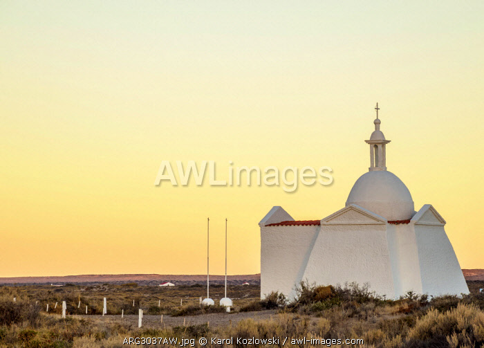 Fuerte San Jose Chapel at dusk, Valdes Peninsula, UNESCO World Heritage Site, Chubut Province, Patagonia, Argentina