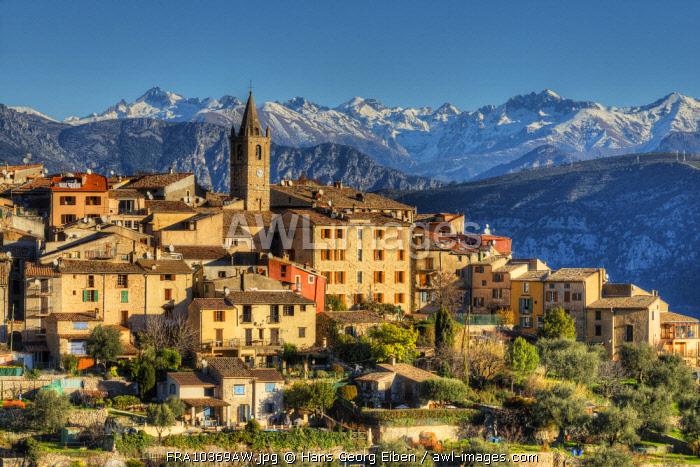 View at Le Broc with the mountains of Parc National de Mercantour, Alpes-Maritimes, Provence-Alpes-Cote d'Azur, France