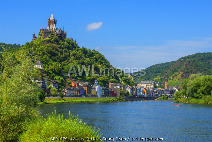 Reichsburg with river Mosel and Cochem, Rhineland-Palatinate, Germany