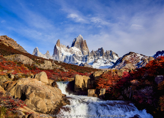 Waterfall on Arroyo del Salto and Mount Fitz Roy, Los Glaciares National Park, Santa Cruz Province, Patagonia, Argentina