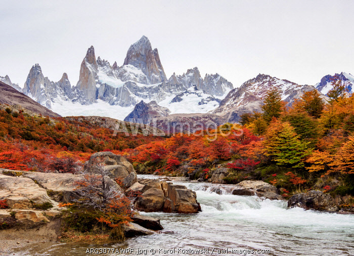 Arroyo del Salto and Mount Fitz Roy, Los Glaciares National Park, Santa Cruz Province, Patagonia, Argentina
