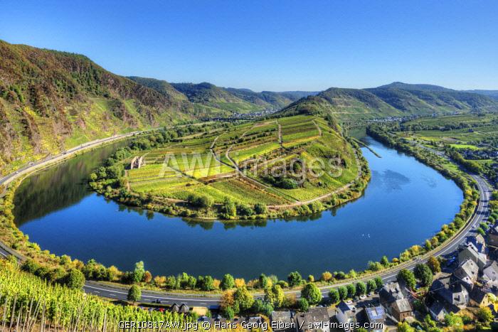 Mosel with Calmont vineyard, Bremm, Rhineland-Palatinate, Germany