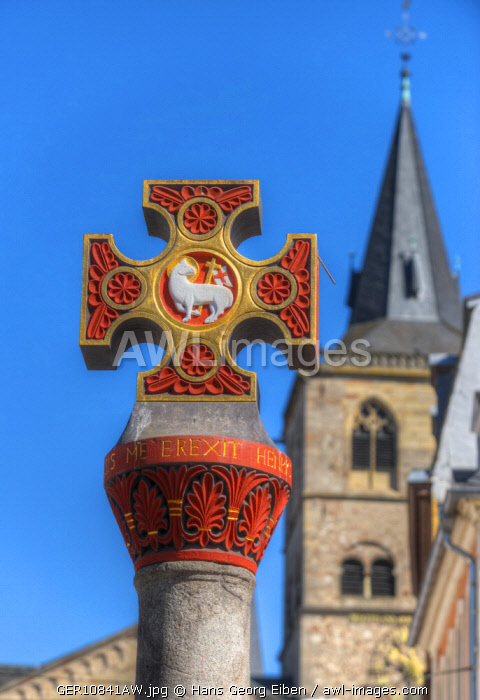 Market cross with Dome at Hauptmarkt, Trier, Rhineland-Palatinate, Germany