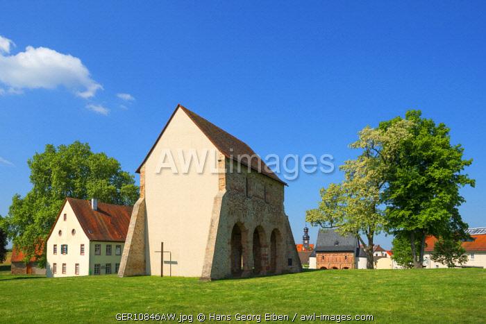 Church fragment with Kings hall at Lorsch monastry, UNESCO World Heritage Site, Lorsch, Hessen, Germany