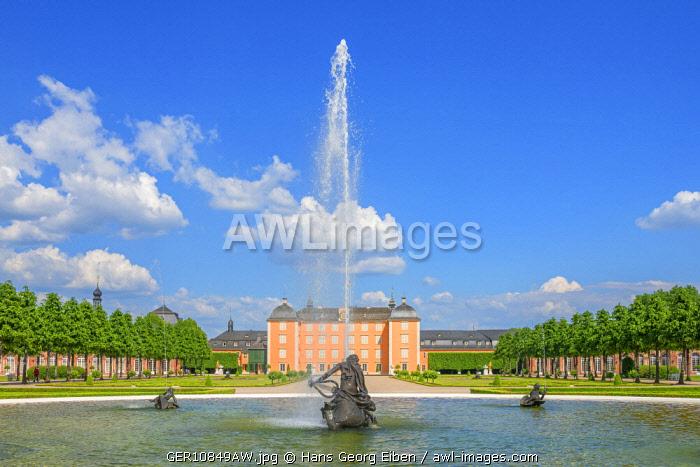 Fountain with Schwetzingen castle, Schwetzingen, Baden-Württemberg, Germany
