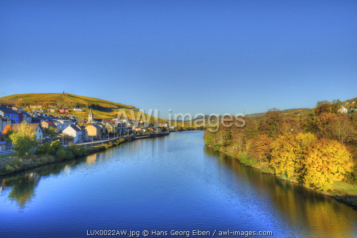 View at Wormeldingen with river Mosel, Grevenmacher, Luxembourg
