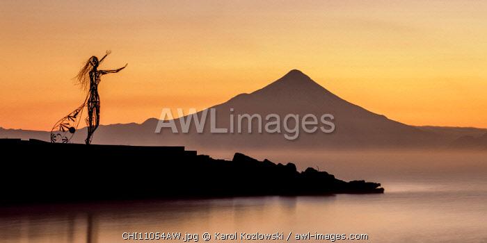 Princess Licarayen Sculpture and Osorno Volcano at dawn, Puerto Varas, Llanquihue Province, Los Lagos Region, Chile