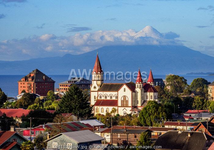 Church and Osorno Volcano, elevated view, Puerto Varas, Llanquihue Province, Los Lagos Region, Chile