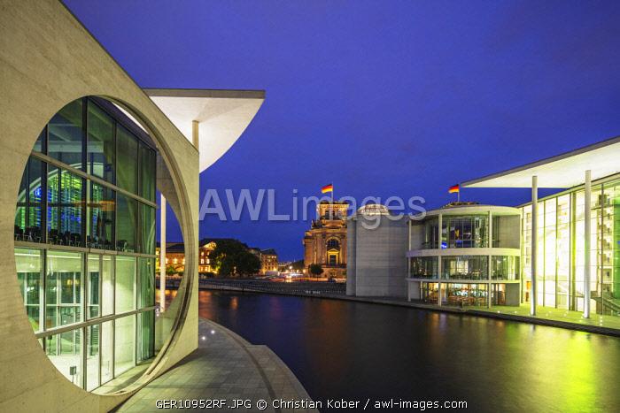Europe, Germany, Brandenburg, Berlin, Reichstag, Marie Elisabeth Luders House and The Paul Lobe House legislative building by Stephan Braunfels