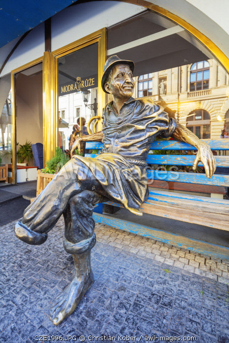Europe, Czech Republic, Bohemia, Prague, Unesco site, man on a bench statue near Wenceslas Square