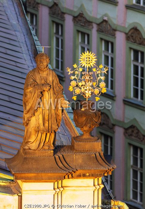 Europe, Czech Republic, Bohemia, Prague, Unesco site, religious figure on church of the Holy Saviour