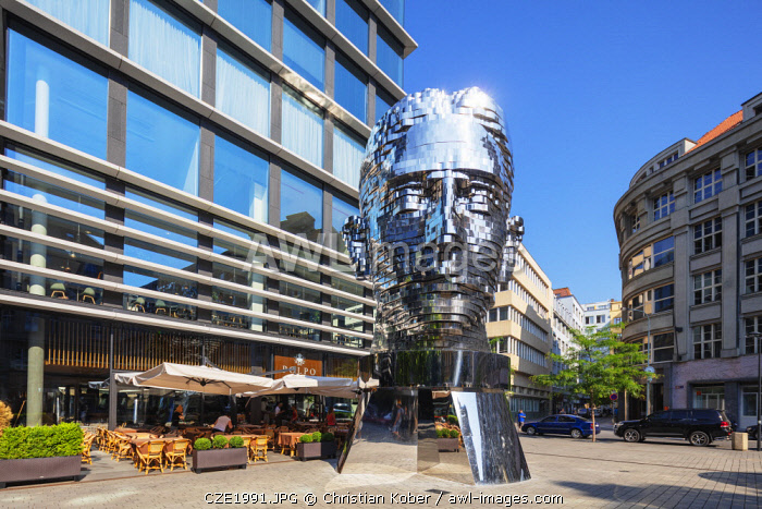 Europe, Czech Republic, Bohemia, Prague, rotating head statue of Czech writer Franz Kafka, by David Cerny at the Quadrio shopping