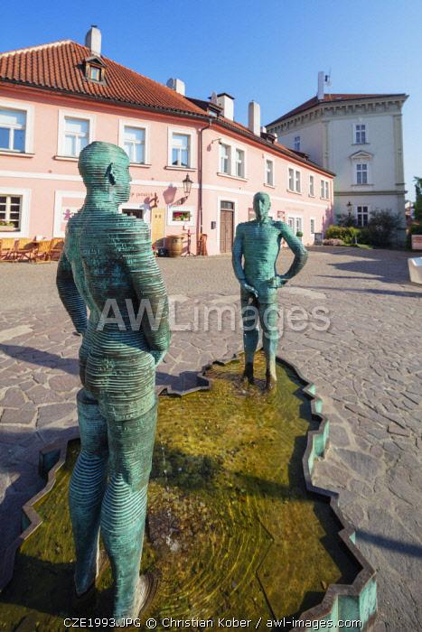 Europe, Czech Republic, Bohemia, Prague, Unesco site, Pissing Men statue by David Cerny, Kafka Art Museum