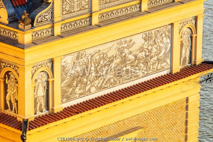 Europe, Czech Republic, Bohemia, Prague, Unesco site, murals on an old town building