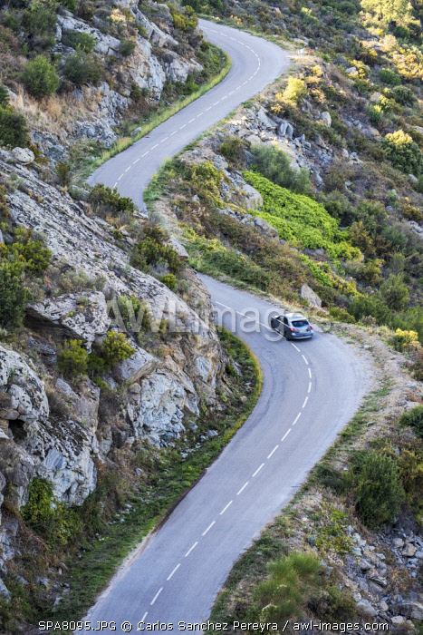 awl-images.com - Spain / Winding road through the nature reserve of Cap de Creus north of the Costa Brava in the province of Girona in Catalonia Spain