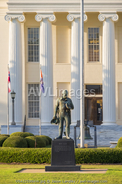 """United States, Alabama, Montgomery. Alabama State Capitol building, sculpture by Branko Medenica, """"State Fraternal Order of Police, Duty Called""""."""