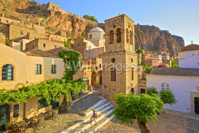 Church of Elkomenos Christos and Bell Tower in Platia Dsami Square, Monemvasia, Laconia, The Peloponnese, Greece (MR)