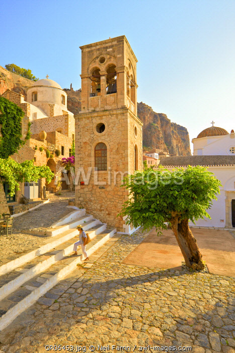 Church of Elkomenos Christos and Bell Tower in Platia Dsami Square, Monemvasia, Laconia, The Peloponnese, Greece (MR)