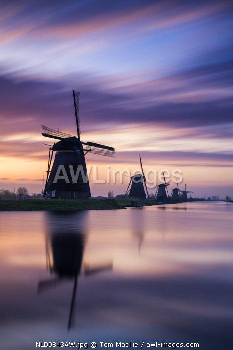 Kinderdijk at Sunrise, Holland, Netherlands