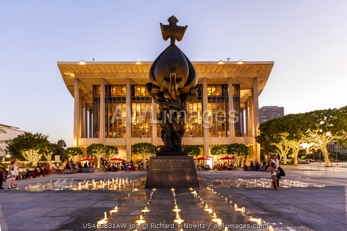 """Los Angeles, California, USA. Dorothy Chandler Pavillon , Landmark Theater and Los Angeles Opera with Jacques Lipchitz's  sculpture """"Peace on Earth"""""""