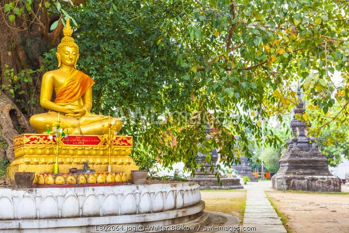 Laos, Luang Prabang, Wat Wisunarat, golden buddha