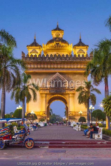 Laos, Vientiane, Patuxai, Victory Monument, exterior, dusk