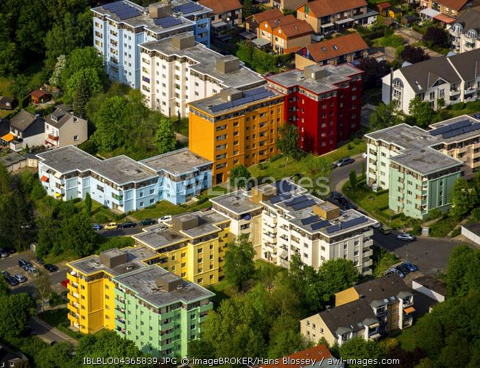 Aerial view, colorful high-rise housing, district Gewecke, Hagen, Ruhr district, North Rhine-Westphalia, Germany, Europe