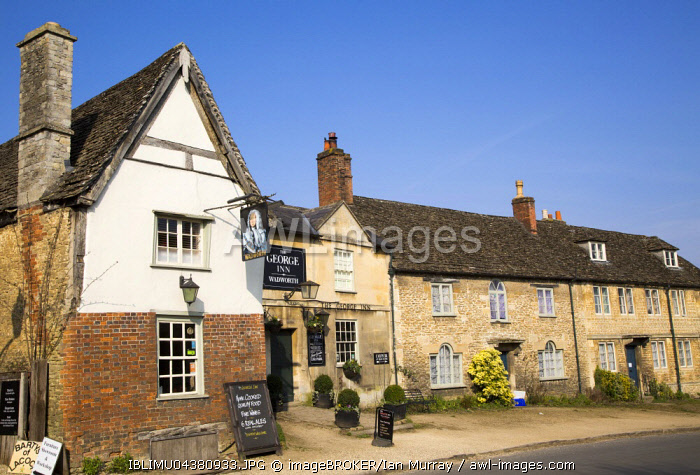 AWL Images Old houses and The George Inn, village Lacock