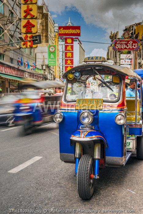 Tuk Tuk three-wheeler taxi, Yaowarat Road, Chinatown, Bangkok, Thailand