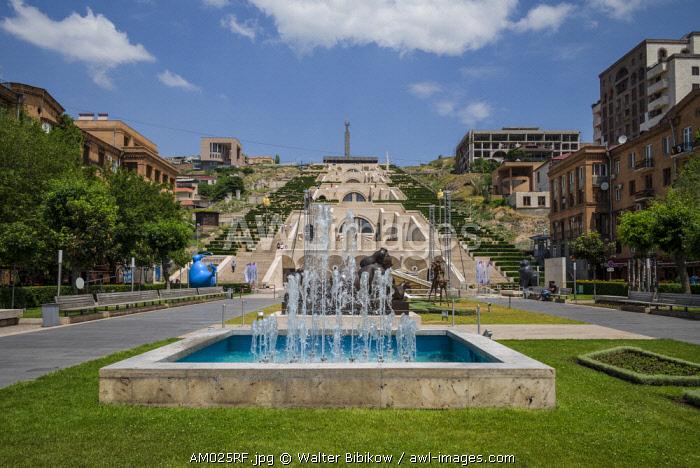 Armenia, Yerevan, The Cascade, view of the fountains