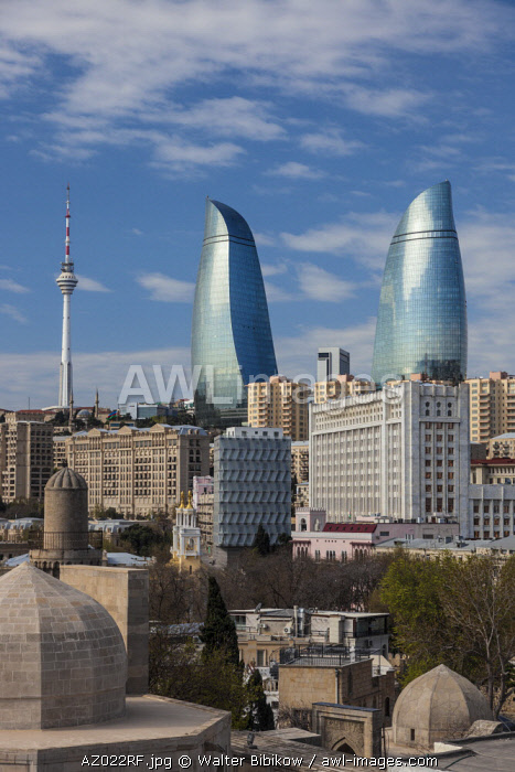 Azerbaijan, Baku, high angle view of Baku Television Tower and Flame Towers